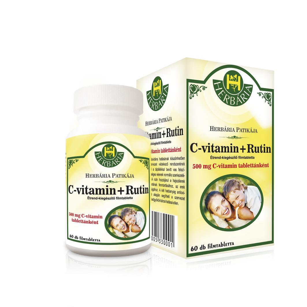 Herbária C-vitamin + Rutin 60 db filmtabletta