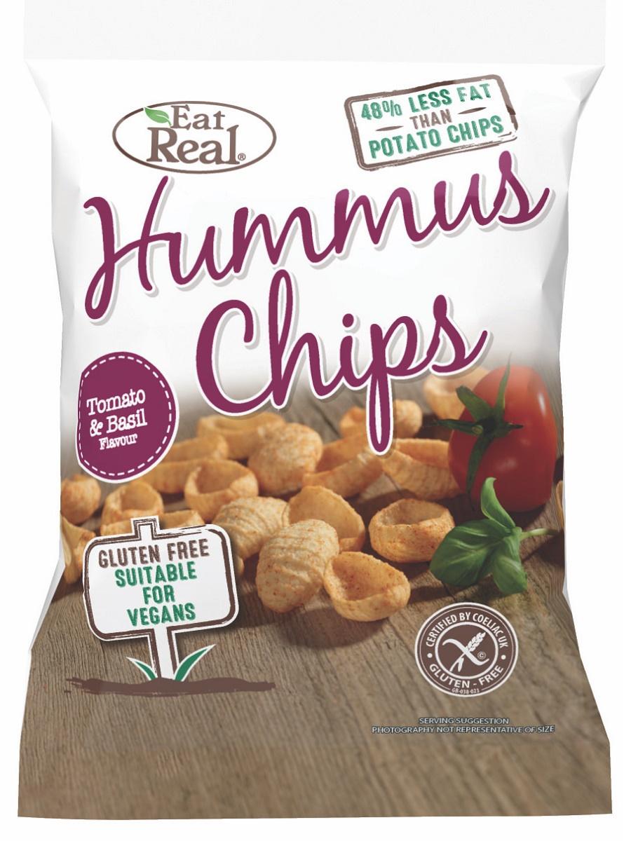 Eat Real Csicseriborsó Chips - Paradicsomos és Bazsalikomos 45g