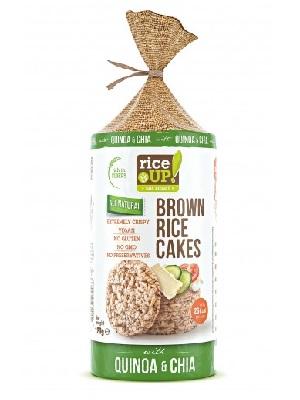 Rice Up Puffasztott teljes kiőrlésű barna rizs szelet chia maggal és quinoával 120 g