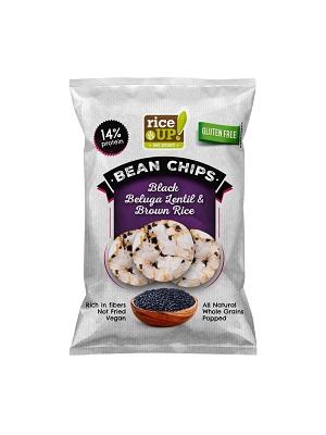 RICE UP teljes kiőrlésű barna rizs chips fekete Beluga lencsével 60g