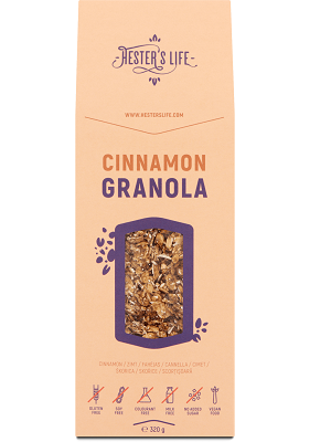 Hesters life fahéjas granola 320g