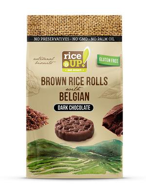 RICE UP teljes kiőrlésű barna rizs snack étcsokoládéval 50g