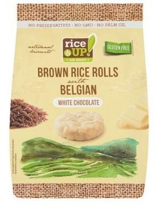 RICE UP teljes kiőrlésű barna rizs snack fehércsokoládéval 50g