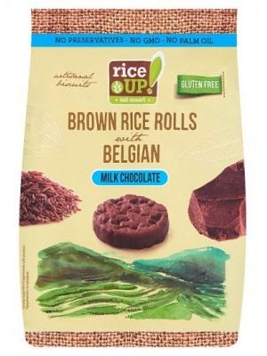 RICE UP Teljes kiőrlésű barna rizs snack tejcsokoládéval 50g