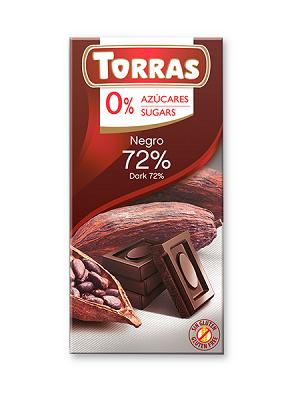 Torras étcsokoládé 72% hozzáadott cukor nélkül 75g