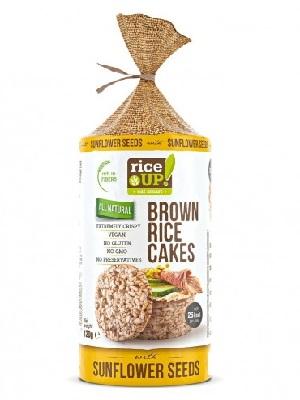 Rice Up Puffasztott teljes kiőrlésű barna rizs szelet napraforgómaggal 120g